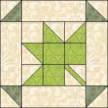 Block of Day for April 02, 2016 - Spring Leaf-strip piecing-The pattern may be downloaded until: Saturday, April 30, 2016.