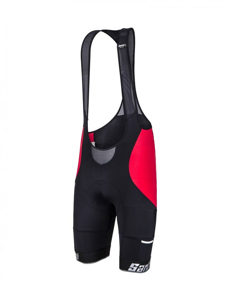 Men's Mago Cycling Bib Shorts in Black/Red : Made in Italy by Santini