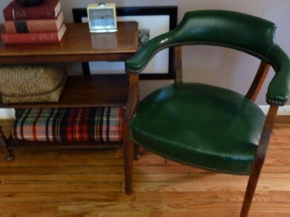 Elegant Vintage Green Leather Arm Chair