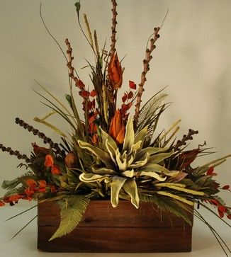Large Rustic Floral Arrangement in Wooden Box rustic artificial flowers I like the large flower and think the foliage. The large flower is either paper m