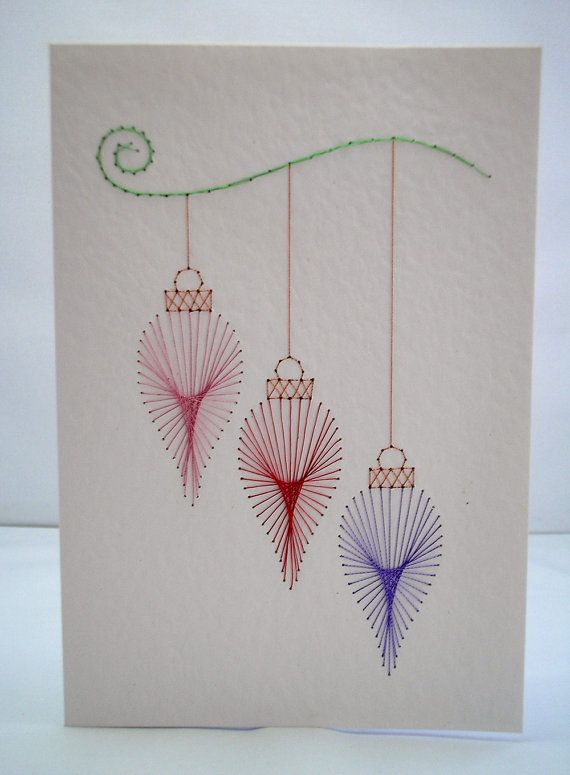 Hand Embroidered Christmas Ornaments Trio by StitchyStationery, £3.50