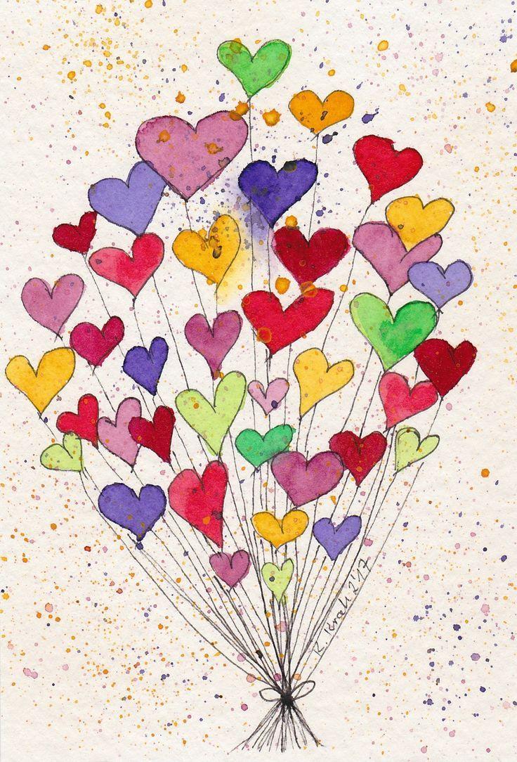 Einfach Nett Bilder Malen Einfach Herz Malen Aquarell Karte