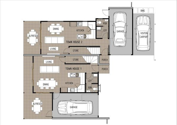 Duplex D3003 - Ground Floor Plan.  This is a great duplex/townhouse design which would be suitable for investors and small developments.  This duplex can be built on a 600m2 block or larger with an existing house at the front.