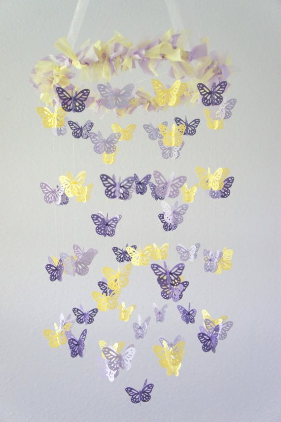 Purple Lavender Yellow Butterfly Mobile by LoveBugLullabies ... thinking of purple and yellow for pepper