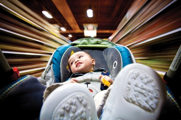 """You Can Do It: A DIY """"Rig Shot"""" For Adding Motion To Photos  Former drag-racing photographer Rich Lavigne creates rig shots of a baby stroller in a supermarket for a twist on baby photos"""