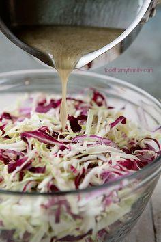 Tangy Coleslaw Dressing via FoodforMyFamily.com: 1/2 cp white vinegar*, 3 tbsp honey, 1/4 cup oil, 1/2 tsp salt, 1/2 tsp dry mustard, 1/2 tsp celery seed