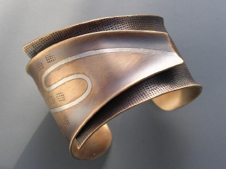 """Reduce"" Bronze & Sterling Silver Cuff"
