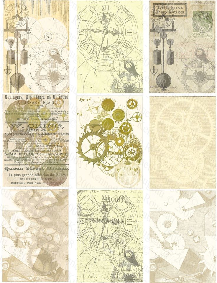 Steampunk ACEO Backgrounds (No. 15) - Digital Collage Sheets $3