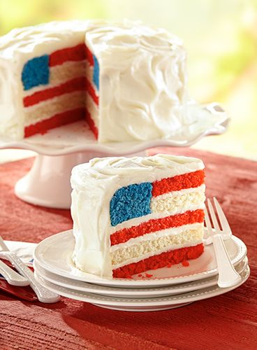 Layers and layers of buttery Red White and Blue cake form the perfect edible American flag.