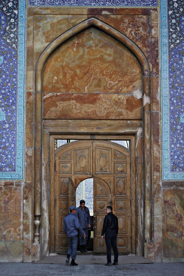 The entrance to Imam Mosque in #Isfahan. Prayer time.
