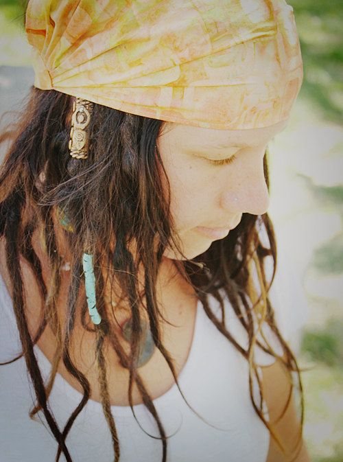 Mango Batik Wrap size M  yoga headband dreadlock by juliebartel #dreadstop