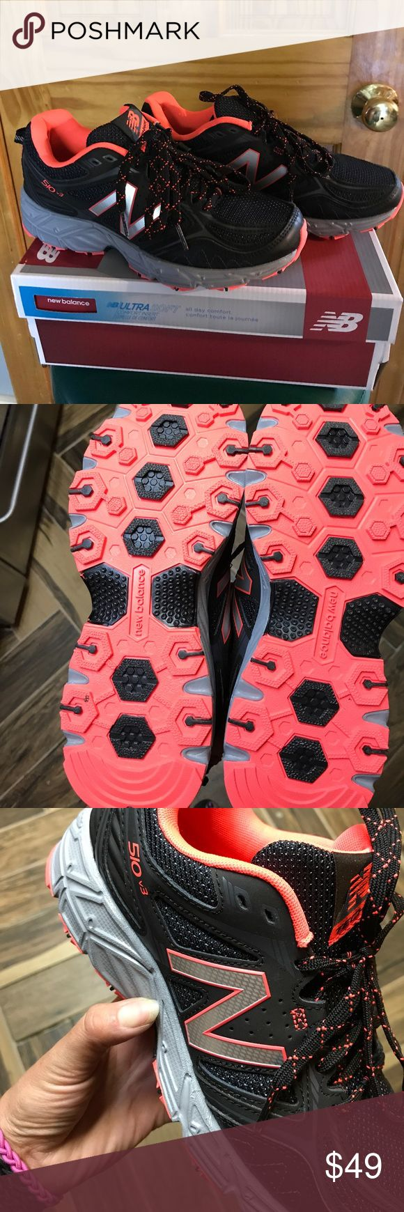 """New balance all terrain sneaker New balance 510 all terrain running shoe size 8 medium width black on black with bright peach pink inside, silver """"N"""" with peach pink outline grey bottom with black and peach pink soles, black and peach pink laces. Bought wore once indoors and one foot just wasn't comfortable. Pretty much in brand new condition. New Balance Shoes Athletic Shoes"""