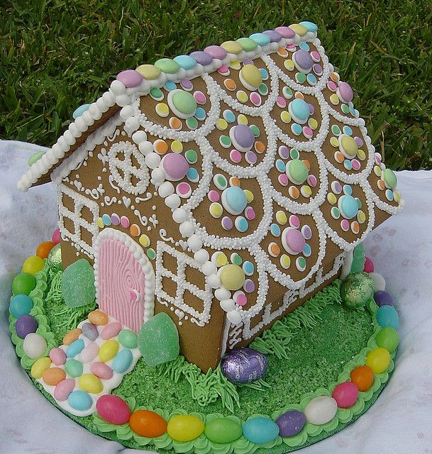 Easter-themed Gingerbread house in pastels.