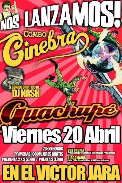 Hoy Combo Ginebra y Guachupé en vivo en el Galpón Víctor Jara http://www.productonacional.cl/combo-ginebra-y-guachupe-en-vivo-en-el-galpon-victor-jara-20-de-abril