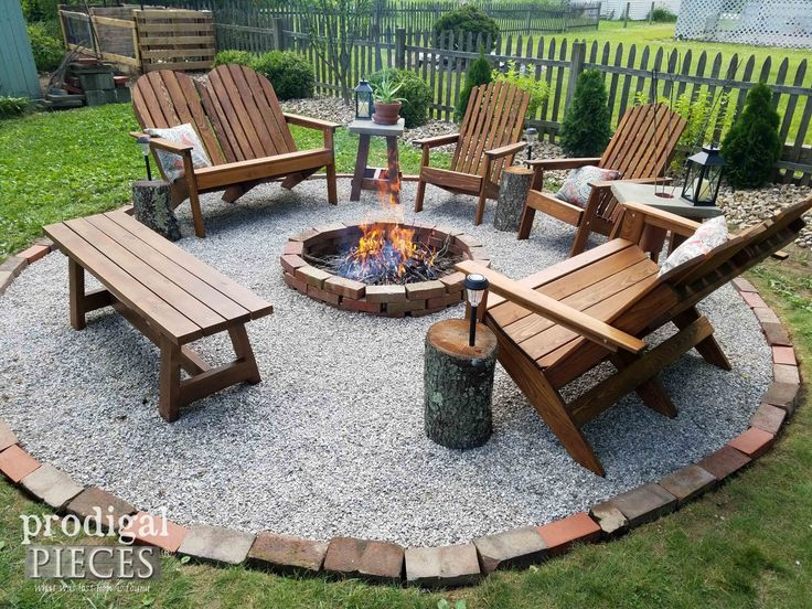 outdoor patio with fire pit designs DIY Fire Pit ~ Backyard Budget Decor | Glamper ideas