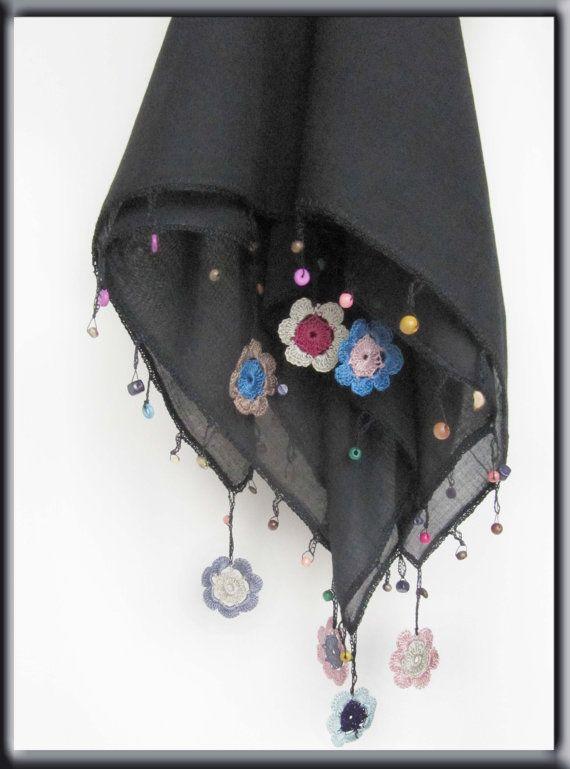 Blackscarf made by bead and lace handiwork on by SEVILSBAZAAR
