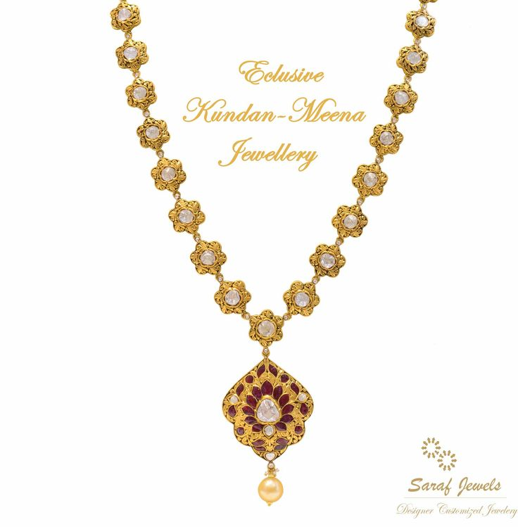 Kundan is a traditional form of Indian gemstone jewellery involving a gem set with gold foil between the stones and its mount. Mr. Kamal Saraf, owner of Saraf Jewels launches exclusive collection of Kundan Jewellery wherein enameling with vivid colours and designs. For queries; Call: 0141-4026333 or Whatsapp: +91 9829055333  #‎kundan‬ ‪#‎kundanjewellery‬ ‪#‎kundanmeena‬ ‪#‎finejewellery‬ ‪#‎jewellery‬ ‪#‎gold‬ #goldnecklace #‎kundannecklace‬ ‪#‎necklace‬ ‪#‎jaipur‬ ‪#‎India‬