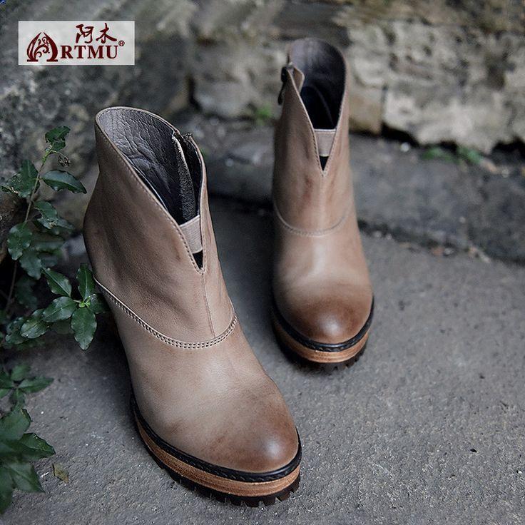 Artmu мода старинные сапоги из воловьей кожи ботильоны элегантные туфли на высоком каблуке Толстый каблук сапоги ботинки женщина Бесплатная доставка купить на AliExpress