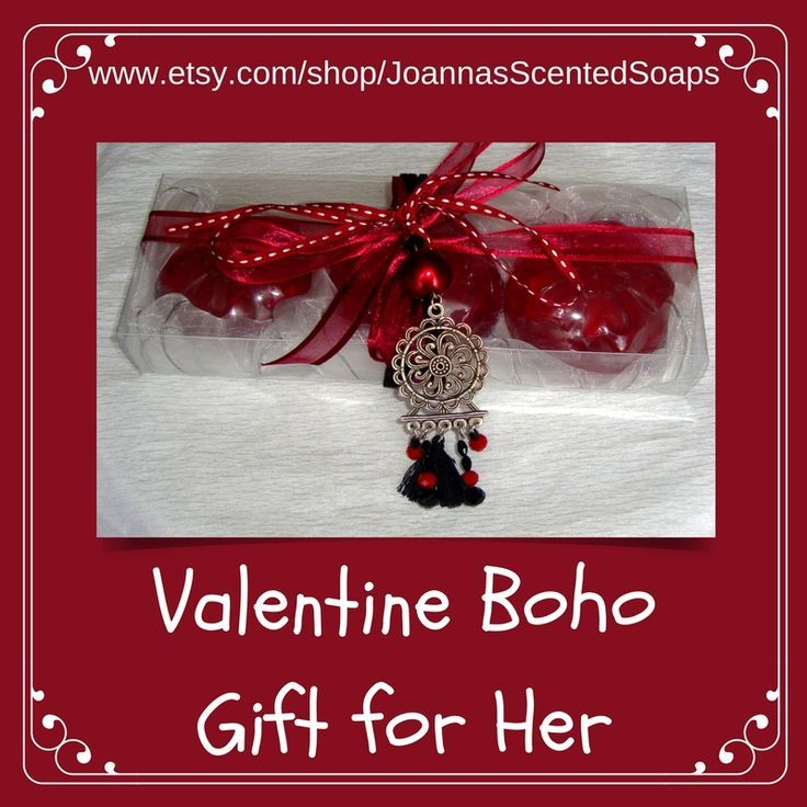 This unique luxury gift box is a cool and budget-friendly Valentine's Day gift idea to treat her to a present she'll love.  A Handmade Boho Gift Set for Women: Three Bordeaux wine color Flower Scented Glycerin Luxury Soaps with a lovely Handmade Silver-Red-Black Jewelry Necklace in the packaging.