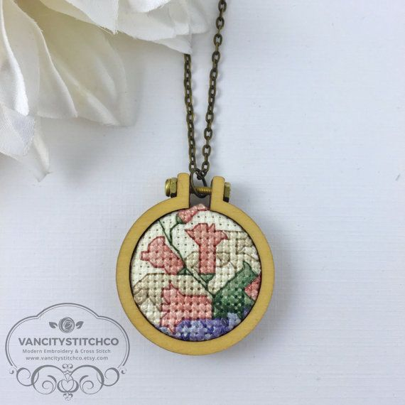 Pendant Necklace- Mini Embroidery Hoop, Cross Stitched, Unique, Statement piece. Gift for her, Anniversary Gift, Bridesmaid gift.
