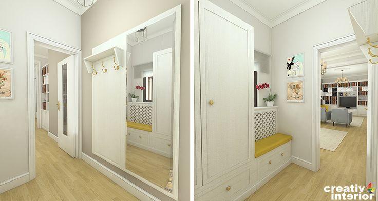 Design apartament cu atmosfera colorata - imobil interbelic din centrul Bucurestiului. Camere inalte, usi originale din lemn ferestre mari lasate libere.