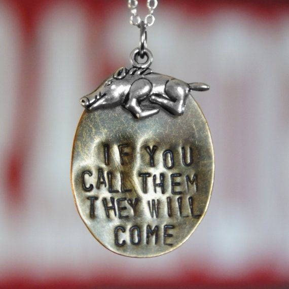 "Arkansas Razorback ""If You Call Them They Will Come"" Necklace with Razorback Charm"