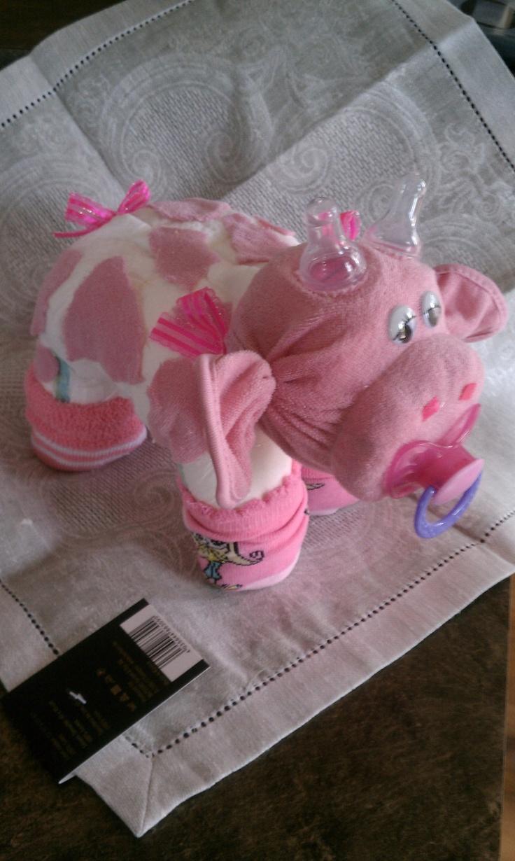 Diaper Cake - Diaper Cow - Baby Shower Gift. $17.00, via Etsy.