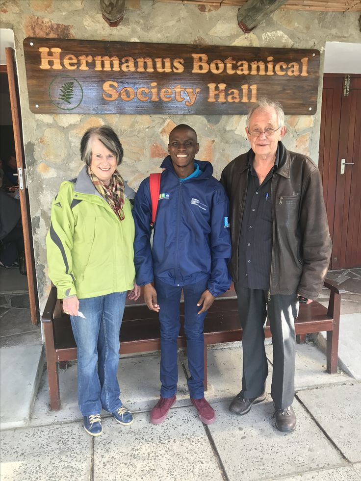 Hermanus Botanical Society venue used for Birdlife South Africa's presentation during Hermanus FynArts 2017. Here is Anton Odendal with WESSA Blue Flag beach steward Ayanda.