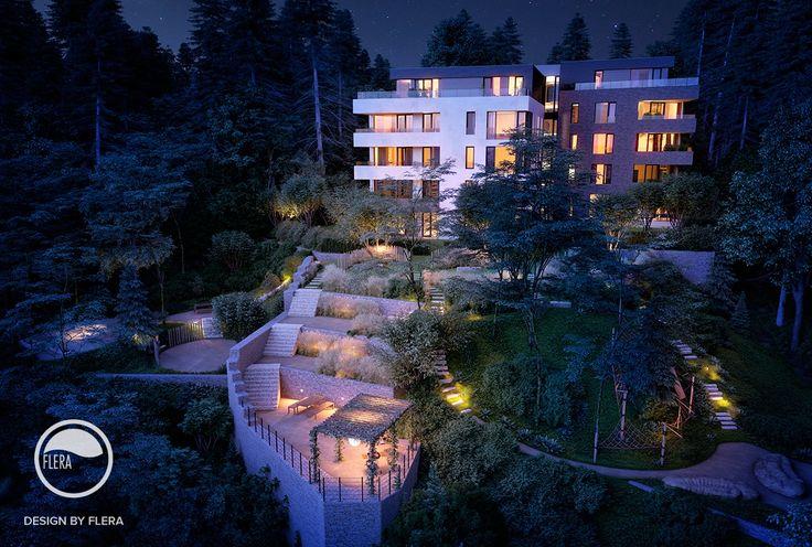 Romantické osvetlenie záhrad v noci