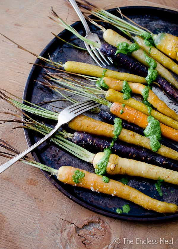 Oven Roasted Carrots with Carrot Top Pesto