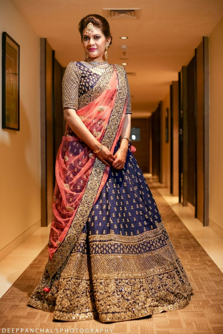 Sangeet Lehengas - Navy Blue Lehenga with Copper Big Border and Pink Dupatta | WedMeGood | #wedmegood #indianbride #indianwedding #lehenga