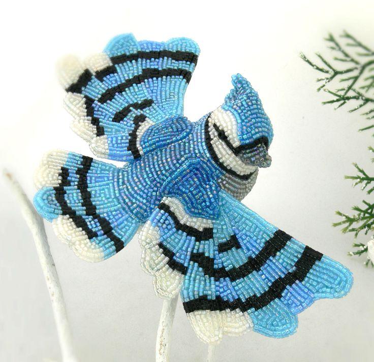 Blue Jay Christmas Ornament Beaded Clip On Bird by MeredithDada, $98.00