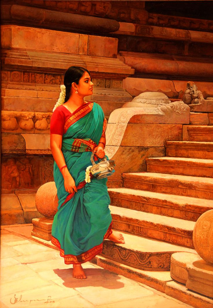 Tamil girl getting down in Hindu Temple steps - Painting by S. Elayaraja