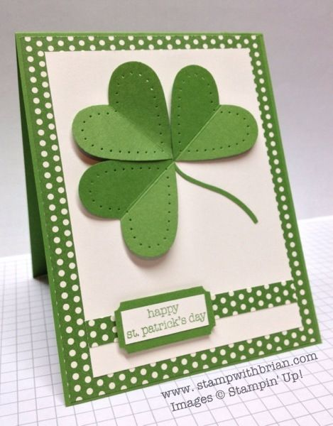handmade St Patrick's Day card ... like this version of the heart shamrock ... hearts with piercing along the edges ... green paper with white polka dots ... Stampin' Up!