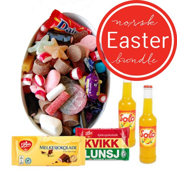 Norwegian Easter Egg Bundle - The traditional Norwegian Easter goodies; a lovely filled Easter egg, a bar of milk chocolate, a kvikk lunsj and 2 x Solo for your Easter celebrations. The ideal Easter egg ...