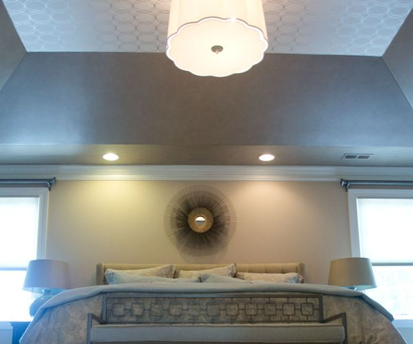 Tray ceiling idea wallpaper no place like it Master bedroom ceiling colors