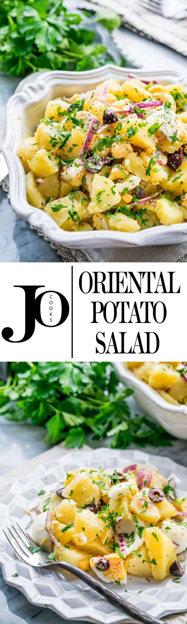 Oriental Potato Salad with olives, eggs and red onions! An easy, delicious and hearty potato salad ready in only 30 minutes!