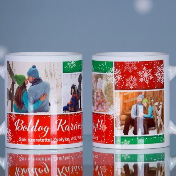 Egyedi fényképes karácsonyi bögreLepje meg szeretteit, ismerőseit, barátait ezzel az egyedi, karácsonyi motívumokat tartalmazó fényképes bögrével. A bögrén négy kedvenc fényképe is elhelyezhető, melyek alatt egy pár soros üzenetnek is helyet hagytunk, így teljesen személyre szóló ajándék készíthető. A f&eac...