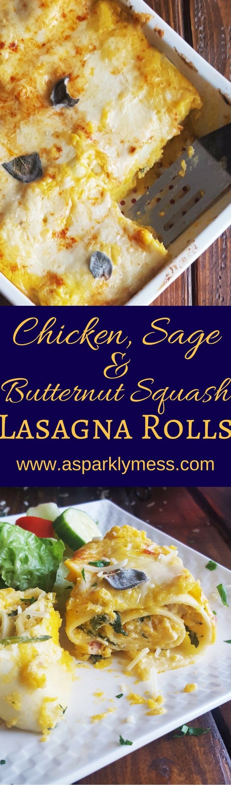 This Butternut Squash & Chicken Lasagna Rolls recipe is a little twist on a classic. Tender noodles wrapped around a creamy flavorful filling and baked in a luxurious butternut squash sauce. Trust me – you want this in your life.