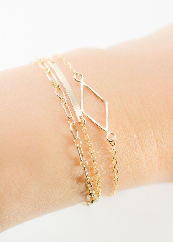 Hokuaonani (HO koo aoo NA nee) - beautiful dawning star.    Delicate gold layering bracelet featuring a hand forged hammered diamond link. www.kealohajewelry.com