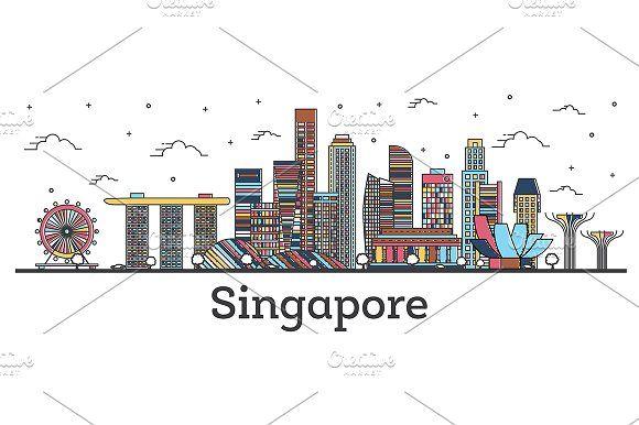 Outline Singapore City Skyline City Skyline Art City Skyline Singapore City