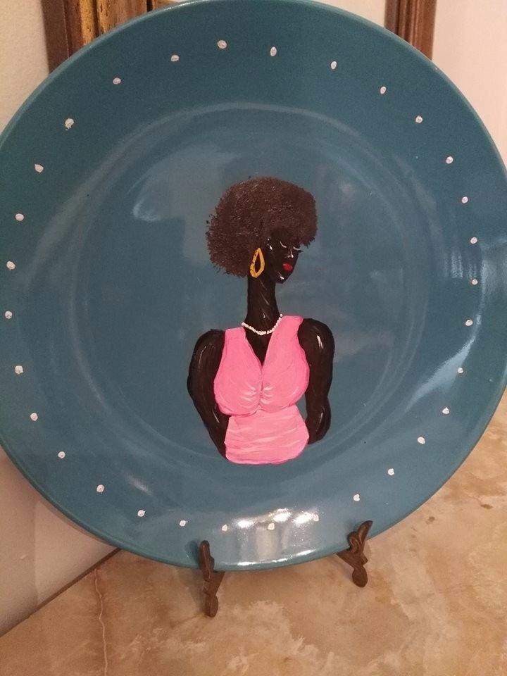 African american folk artist Karen Terry ethnic hand painted ceramic plate #Folk
