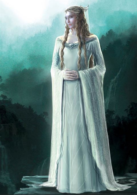 """Conceptual art for Galadriel from """"The Hobbit: An Unexpected Journey"""" (2012).  The pale colors of Galadriel's wardrobe in """"The Hobbit"""" create a strong visual link to her gowns from the original trilogy;"""