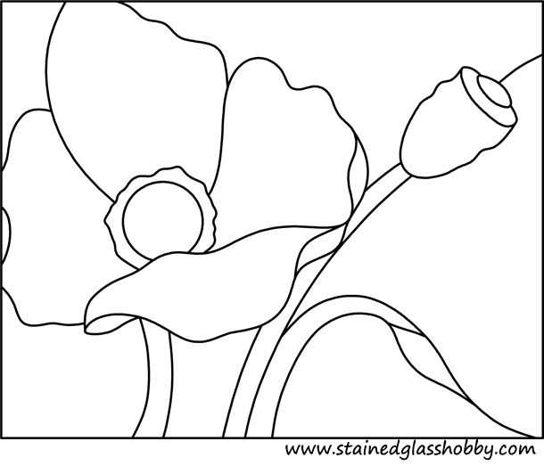 Flower poppy stained glass pattern