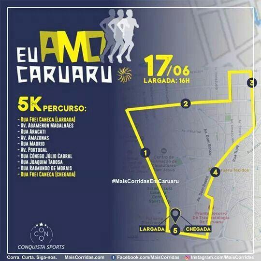 Você que vai correr os 5Km, veja aqui o seu percurso.  1ª Corrida Eu Amo Caruaru Caminhada: 5km/ Corrida: 5 e 10Km. Quando: 17/06/17 (sábado) Largada às 16hs. Onde: Antiga Estação Ferroviária, Caruaru/PE.  MAIS INFORMAÇÕES/ ORGANIZADOR Conquista Sports E-mail: conquista.sports@outlook.com Telefone: (81)99695.4815 (Mel)  #MaisCorridas   #MaisCorridasCom   #MaisCorridasComBR #EuCurtoMaisCorridas   #SouMaisCorridas   #VemSerMaisCorridas   #Corrida   #Corredor   #Caruaru  #EuAmoCaruaru