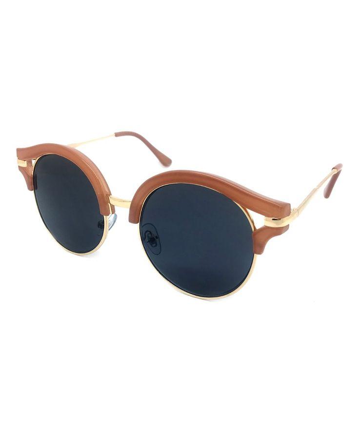 Gray & Goldtone Round Chunky Browline Sunglasses