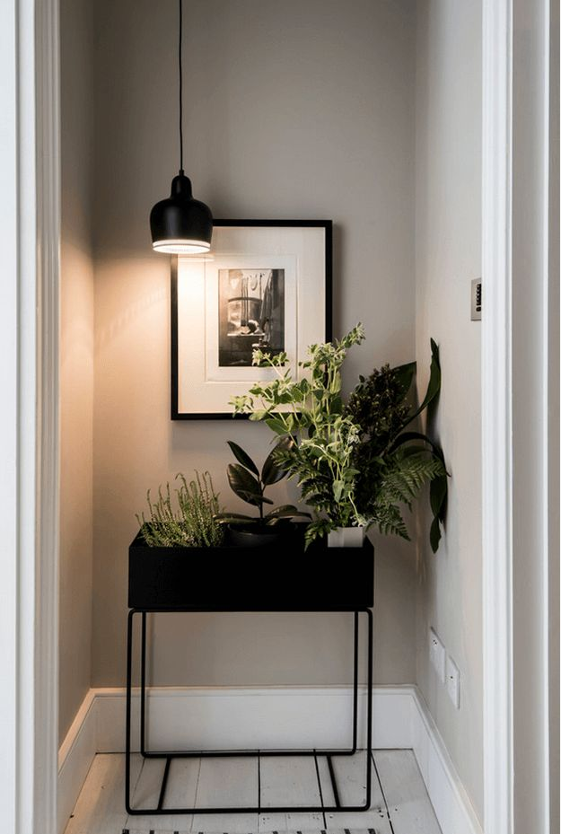 light taupe hallway with black and white accents, taupe gray, sand gray, stone gray, sherwin williams popular gray, painted wood floors