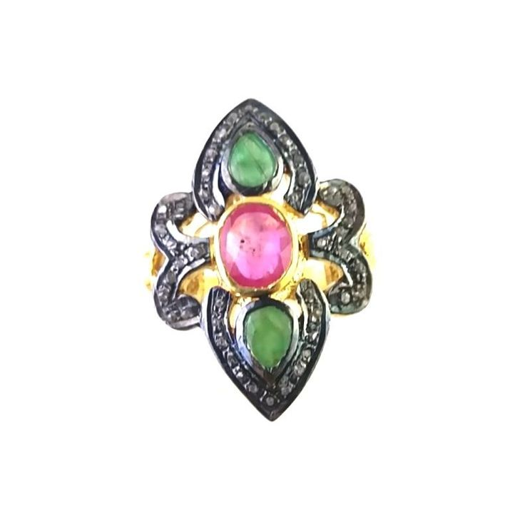 FREE SHIPPING 925 STERLING SILVER NATURAL DIAMOND EMERALD AND RUBY GEMSTONE RING #SIlvexStore #Cocktail