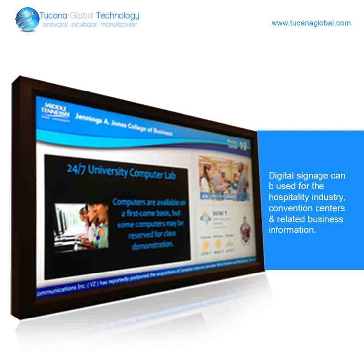 #DigitalSignage can be used for the #hospitality #industry, #convention #centers & #related #business #information. #TucanaGlobalTechnology #Manufacturer #HongKong
