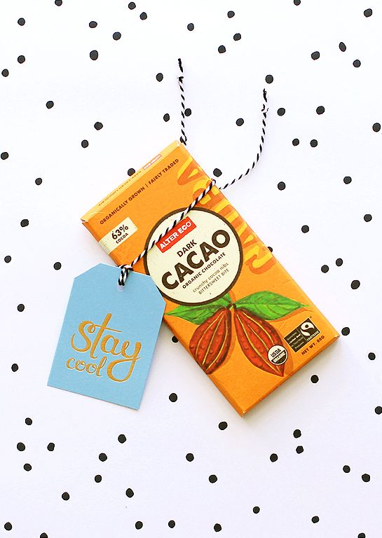 Ritual 'stay cool' deluxe gold gift tag in blue. Wrap one around a choccy treat!